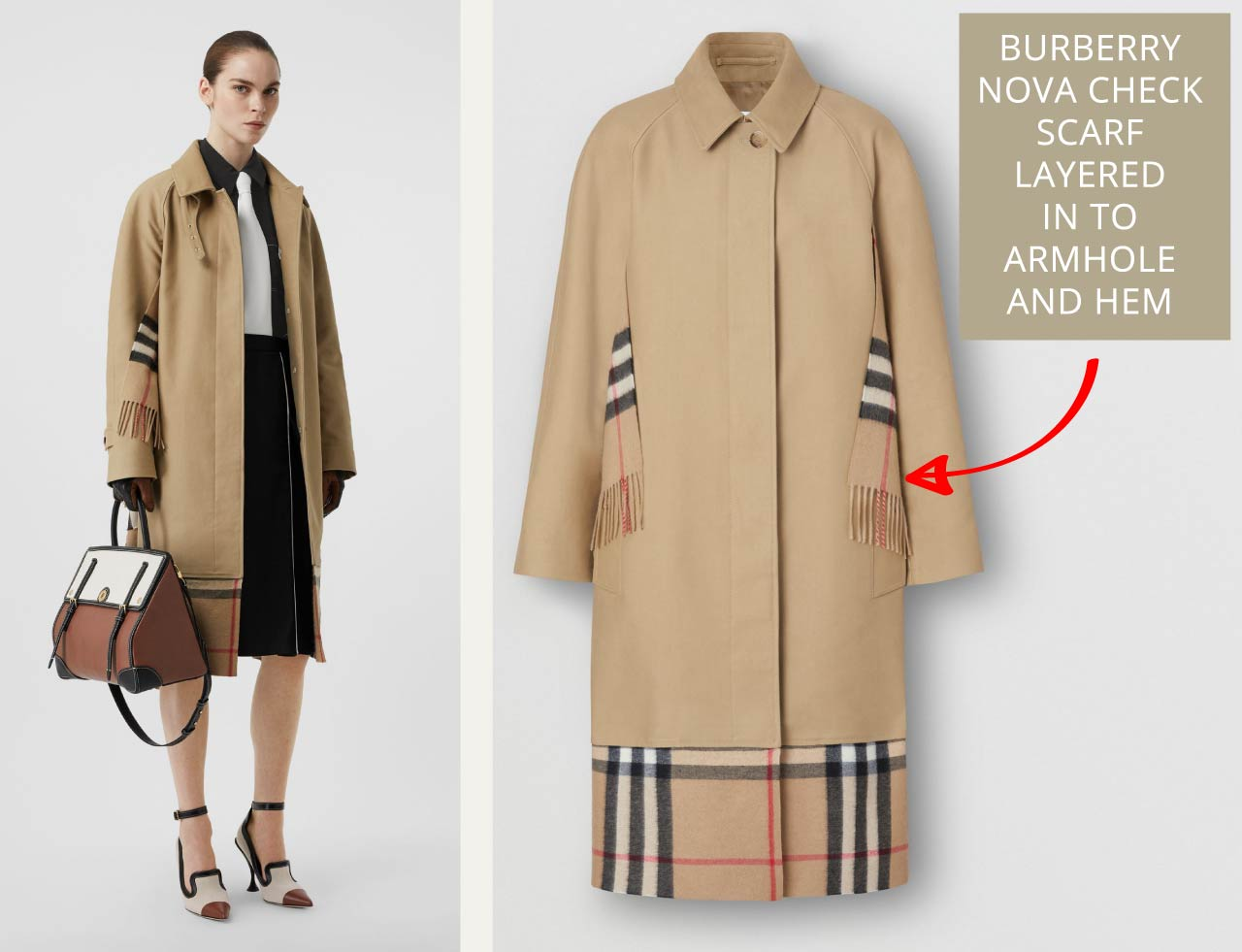 Burberry scarf with Nova check inserted into armhole seams and hem of car coat.