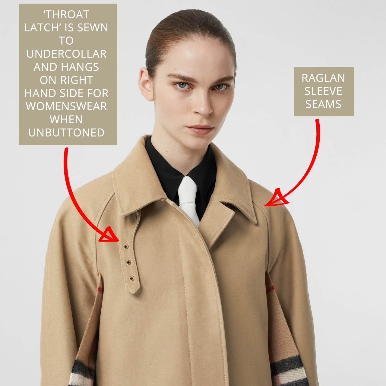 Burberry car coat with 'throat latch'. Throat latch is sewn to undercollar and hangs on the right hand side for womenswear when not in use.