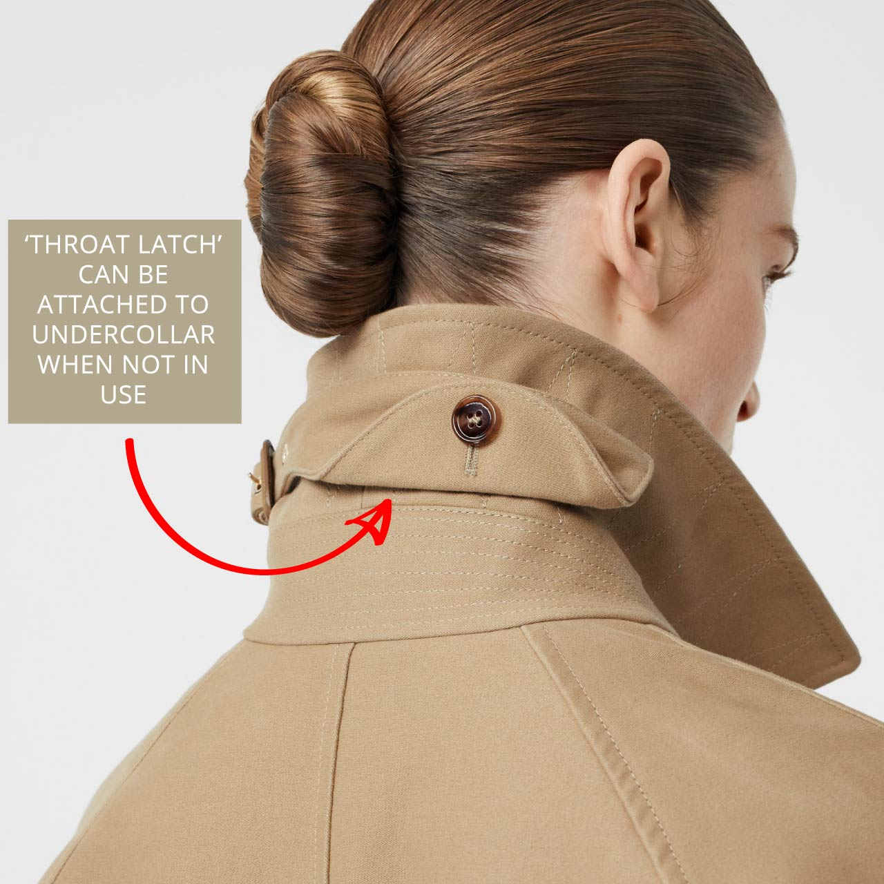 Throat latch is attached to undercollar when not in use. Burberry car coat, The Cutting Class.