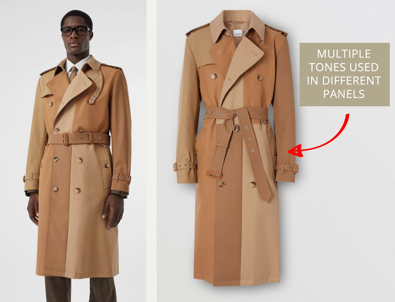Men's Burberry trench coat with multiple different tones. The Cutting Class.