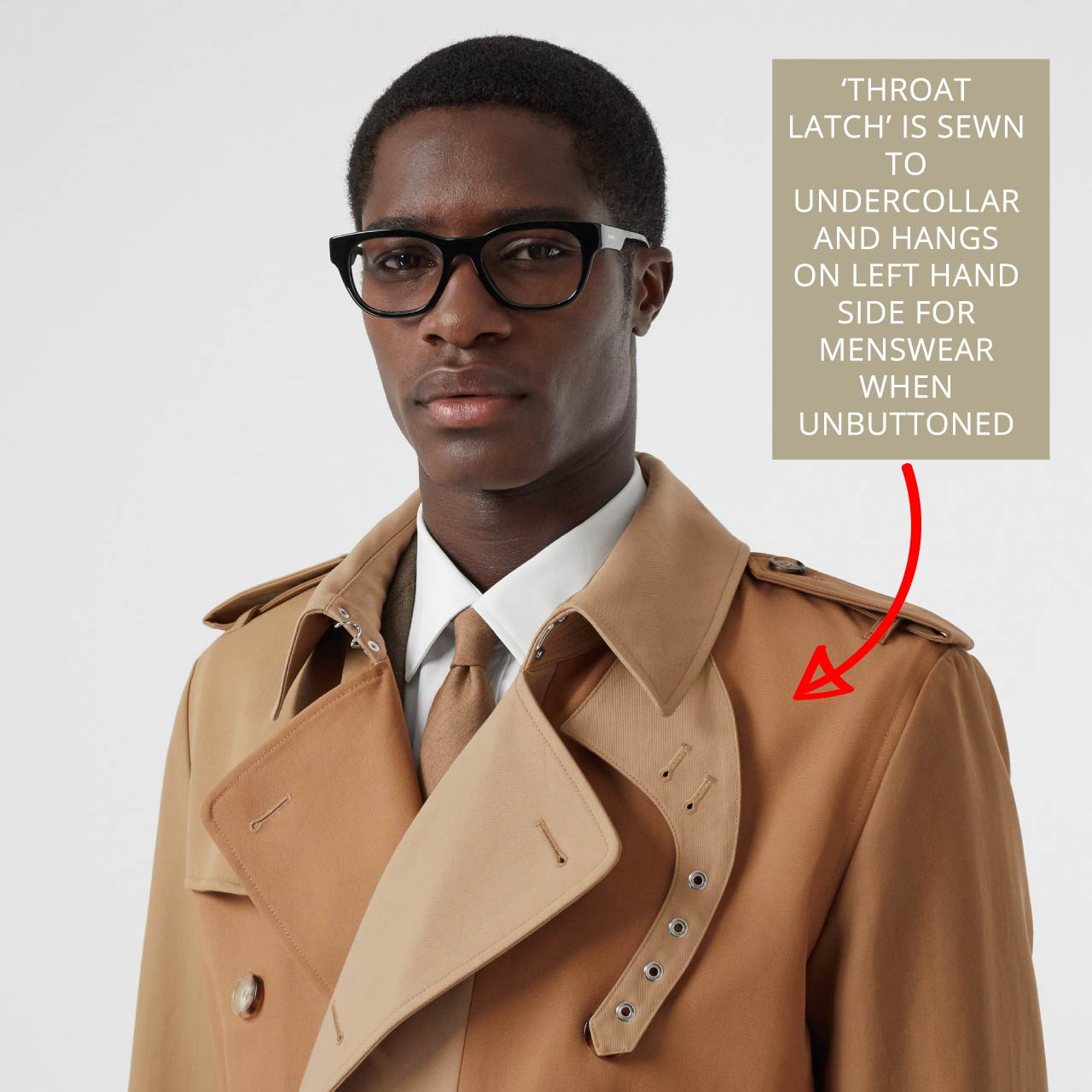 Burberry trench coat with 'throat latch'. Throat latch is sewn to undercollar and hangs on the left hand side for menswear when not in use.