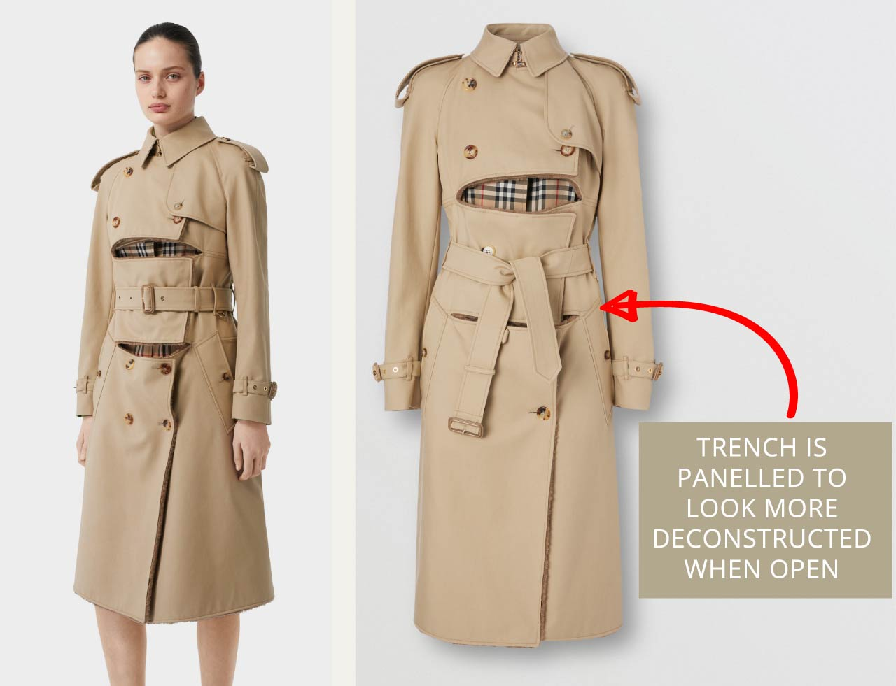 Deconstructed Burberry trench coat for women with multiple panels and contrast shearling lining. The Cutting Class.