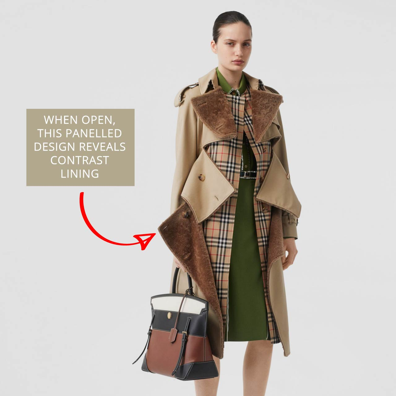 Open Burberry trench coat reveals shearling lining. The Cutting Class.