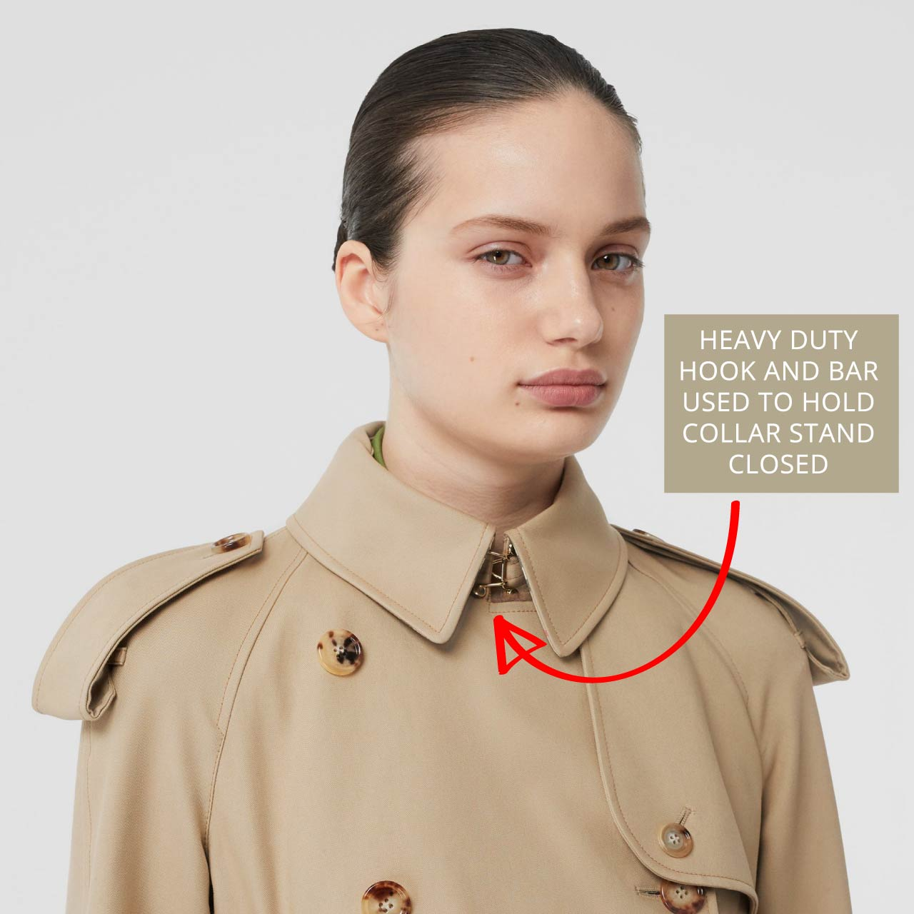 Heavy-duty hook and bar used to hold collar stand closed on Burberry trench coat. The Cutting Class.