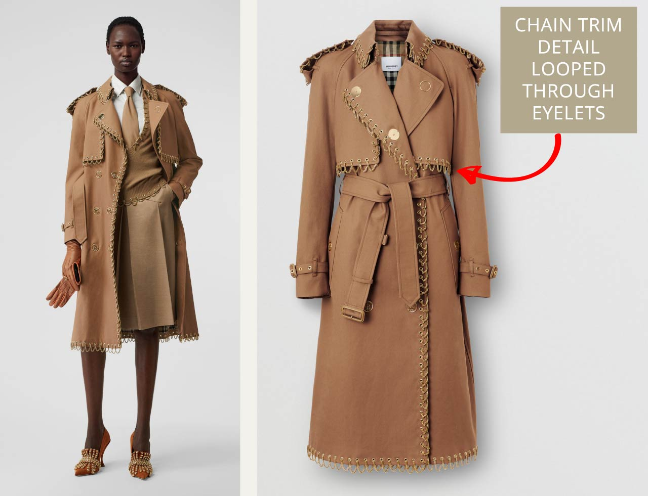 Chain detail trim on Burberry trench coat. The Cutting Class.