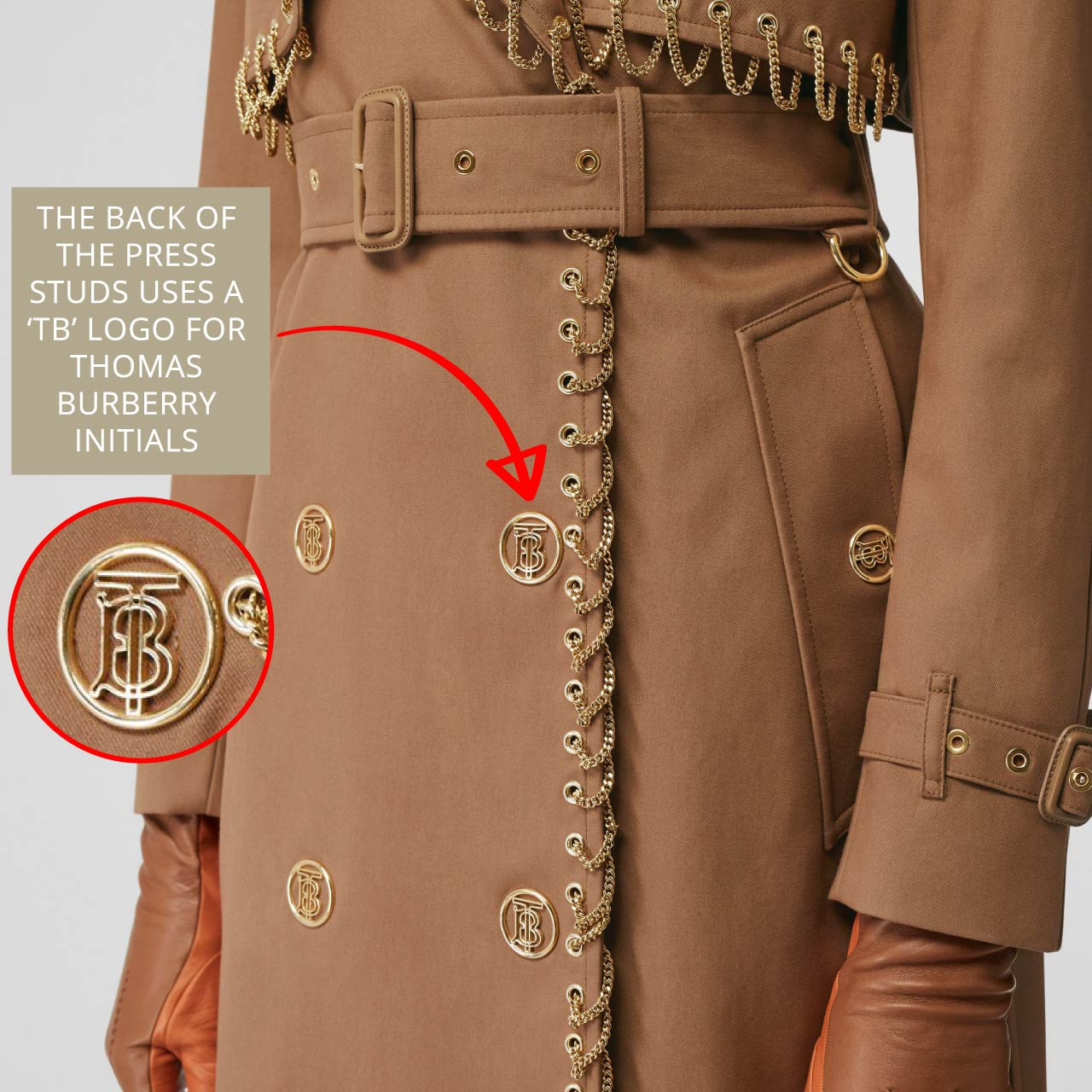 Large TB intials on press studs on Burberry trench coat. The Cutting Class.