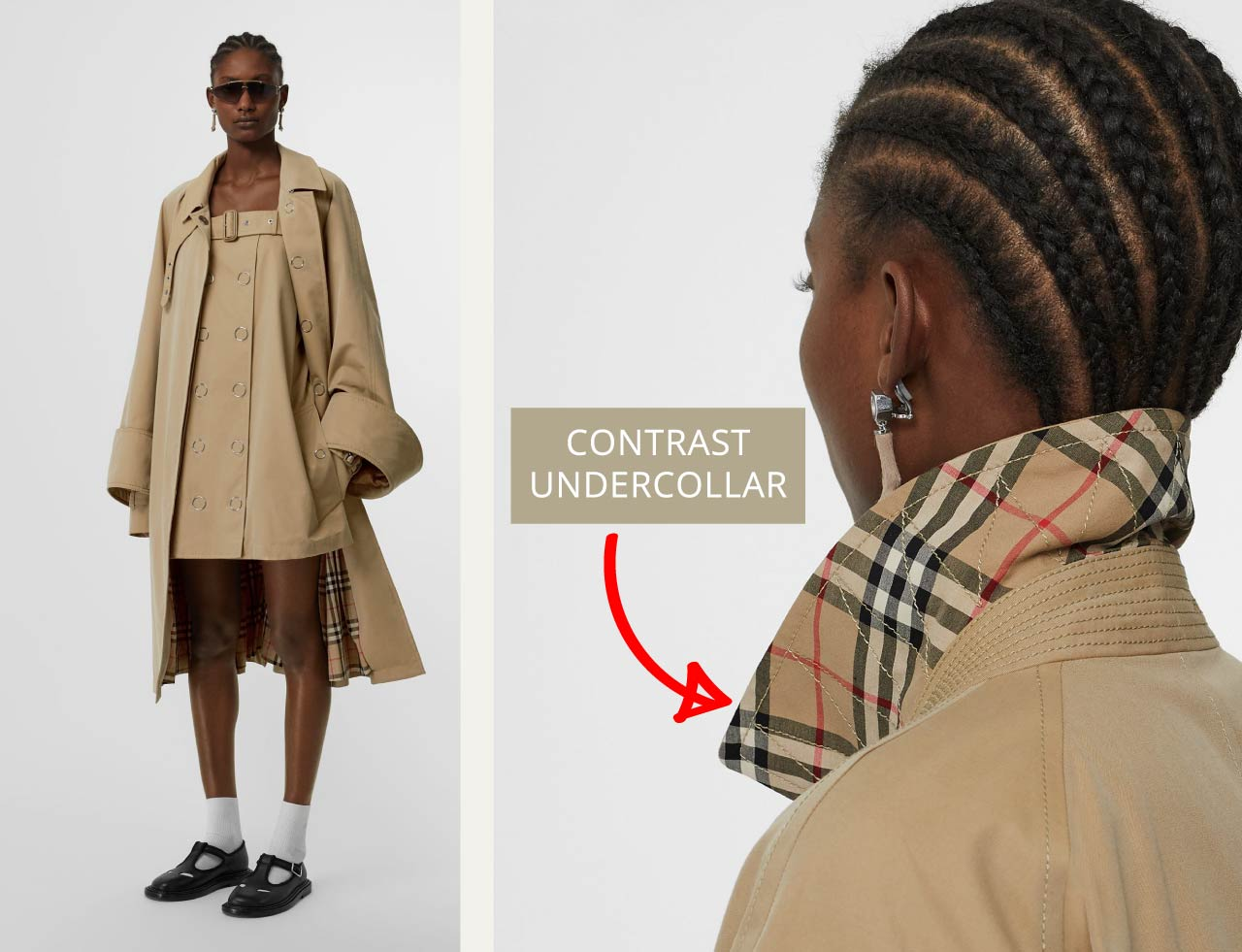 Burberry car coat with contrast undercollar using Nova check. The Cutting Class.