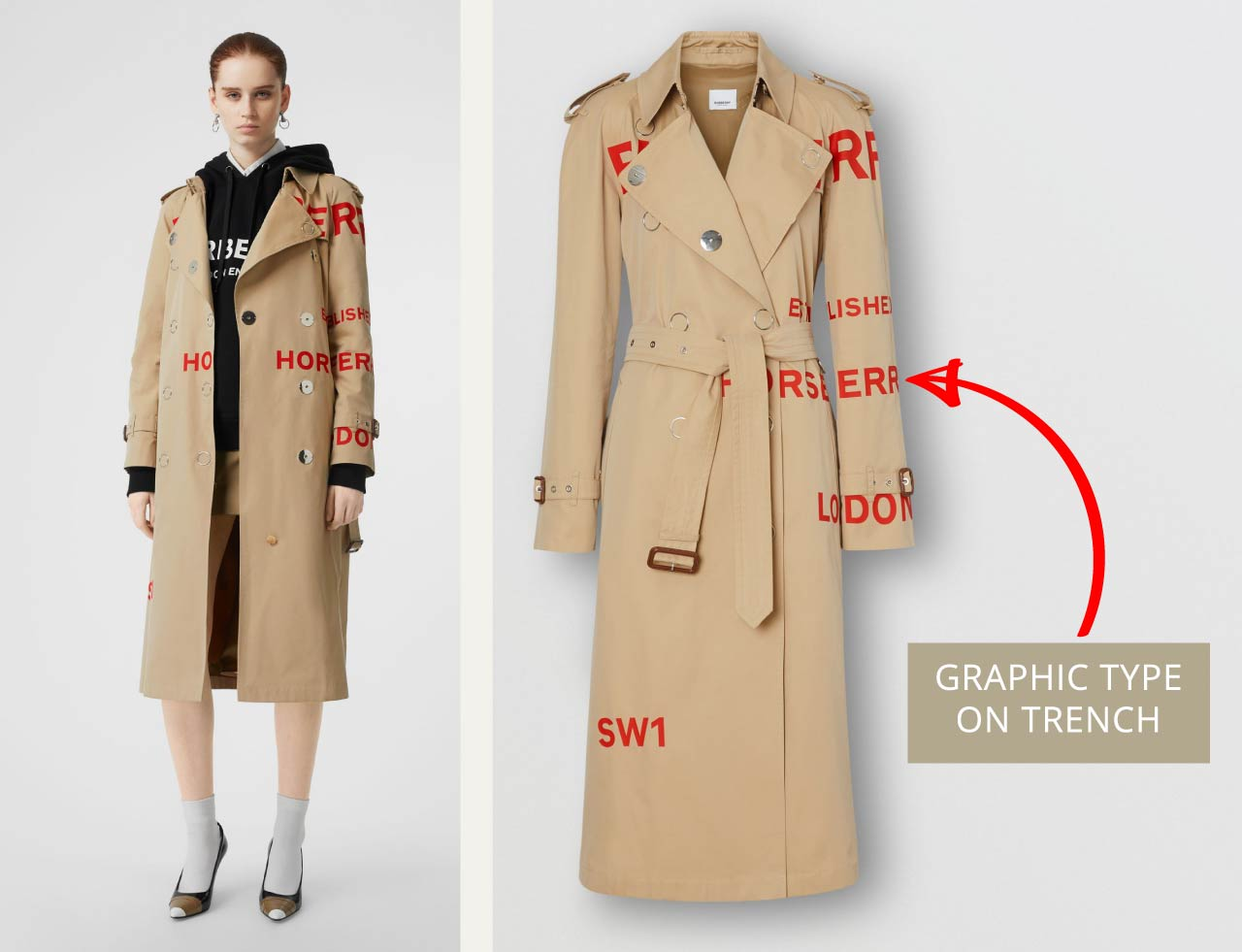 Graphic red type detail on Burberry trench coat. The Cutting Class.