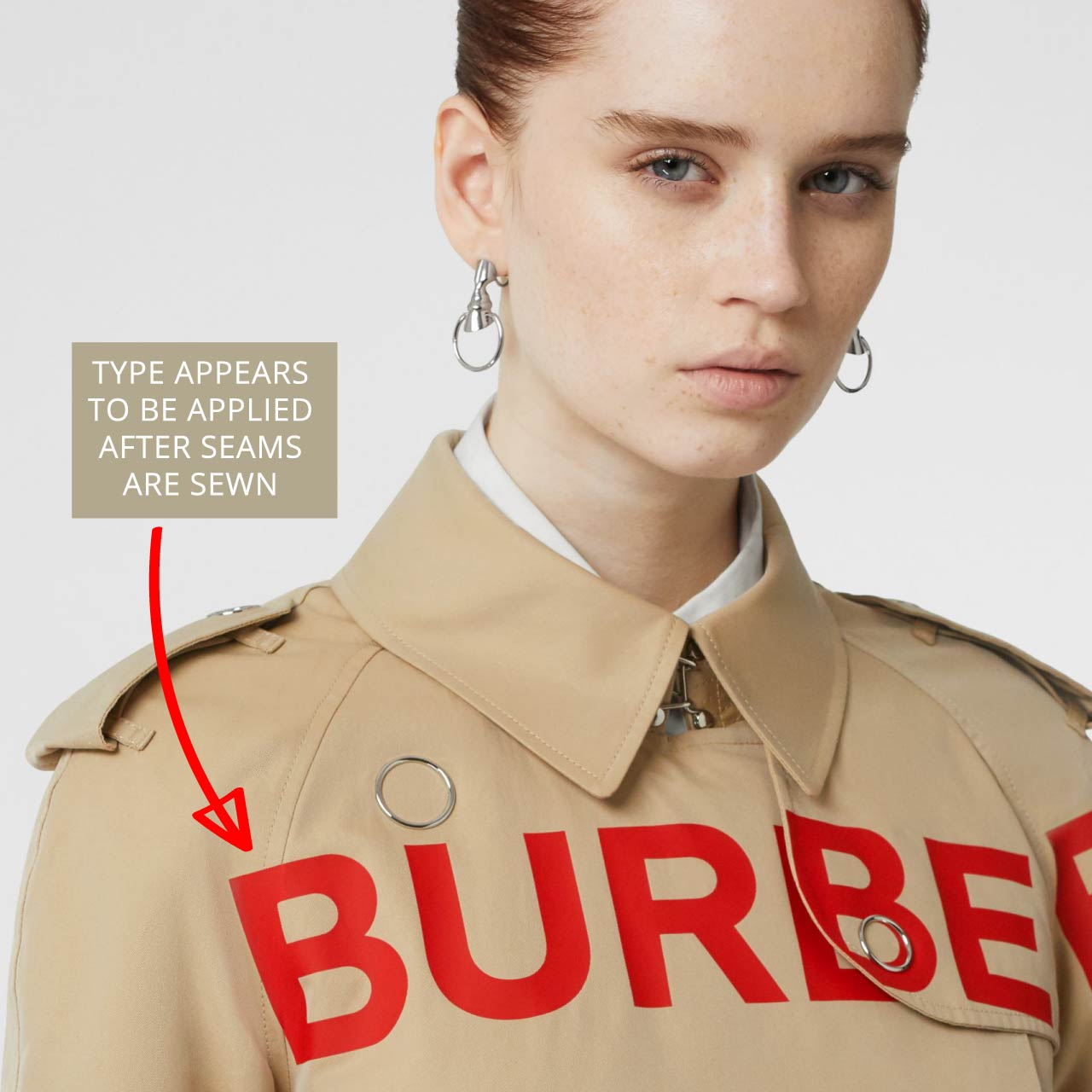 Type detail applied over seams on Burberry trench coat. The Cutting Class.