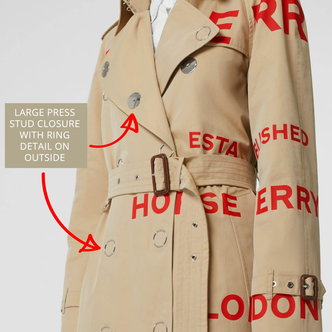 Large press studs with ring backing on Burberry trench coat. The Cutting Class.