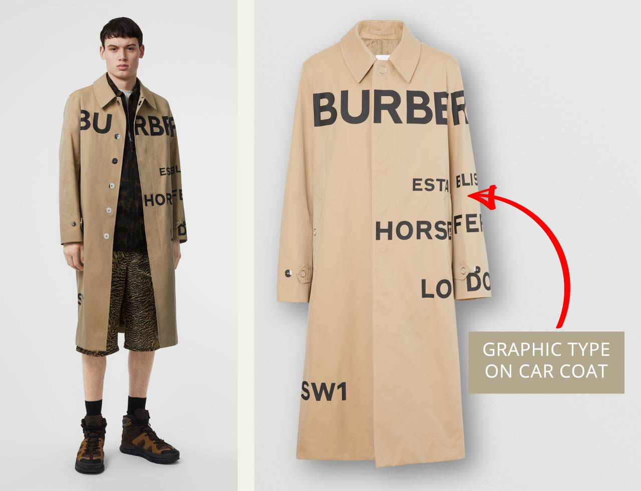 Graphic type details on men's Burberry car coat. The Cutting Class.