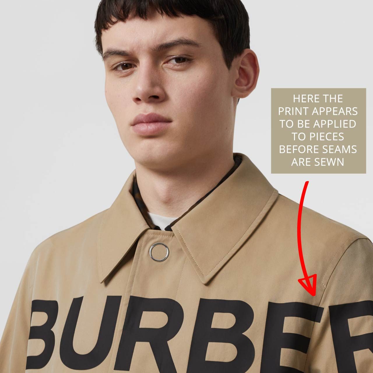 Print possibly applied onto fabric before seams are sewn. Burberry car coat, The Cutting Class.