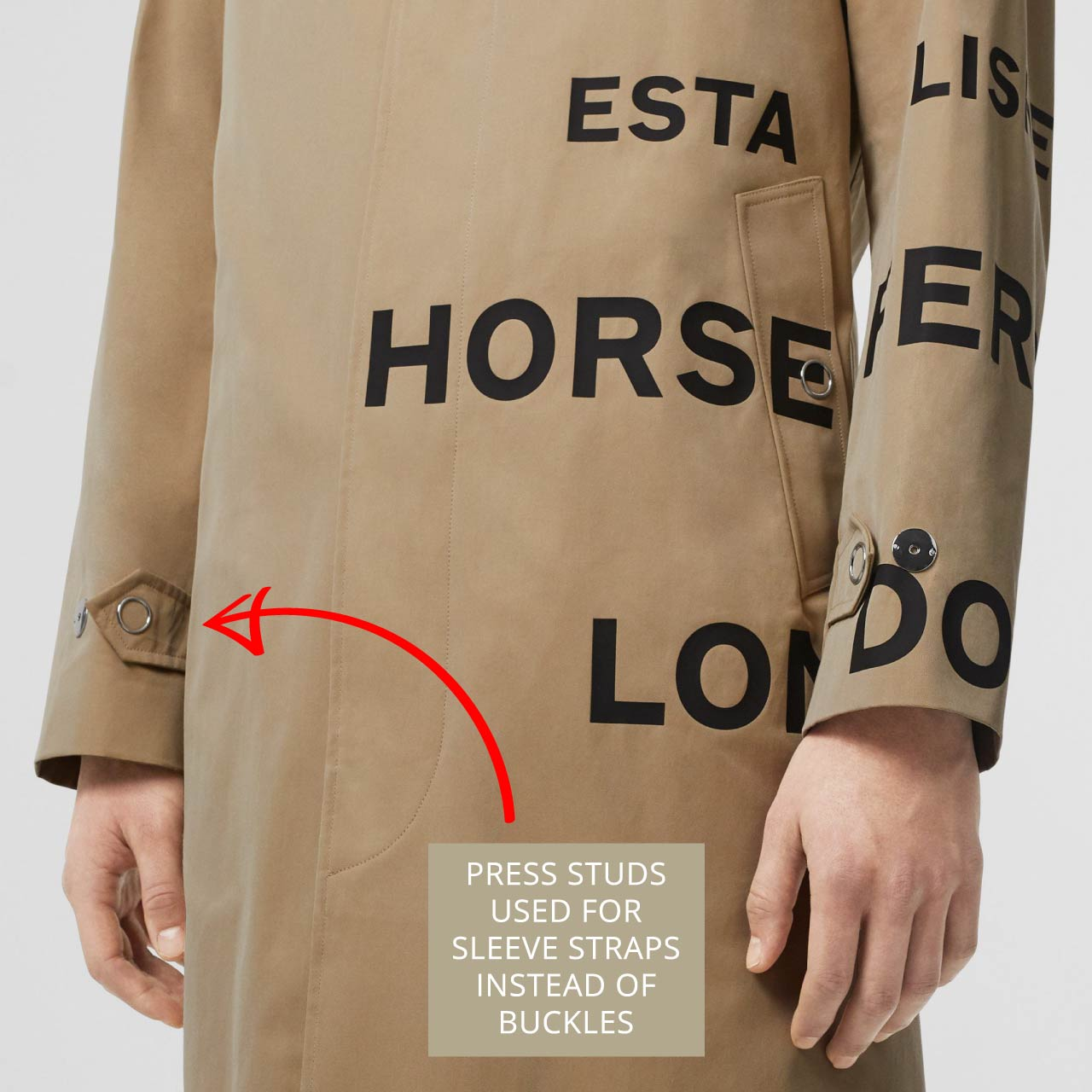 Press studs with ring backing used as sleeve straps on Burberry car coat. The Cutting Class.