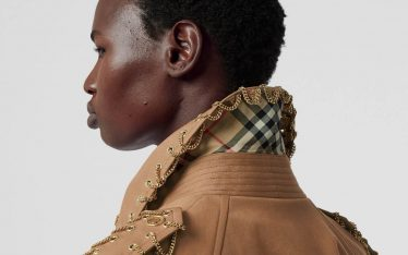 Burberry Trench Coat Details | The Cutting Class. Chain detail embellishment with Nova check undercollar.