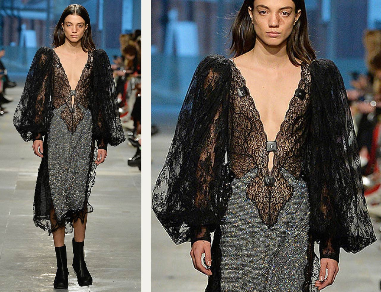 Ladies Who Fetish at Christopher Kane | The Cutting Class. Black lace dress from Autumn-Winter 2019.