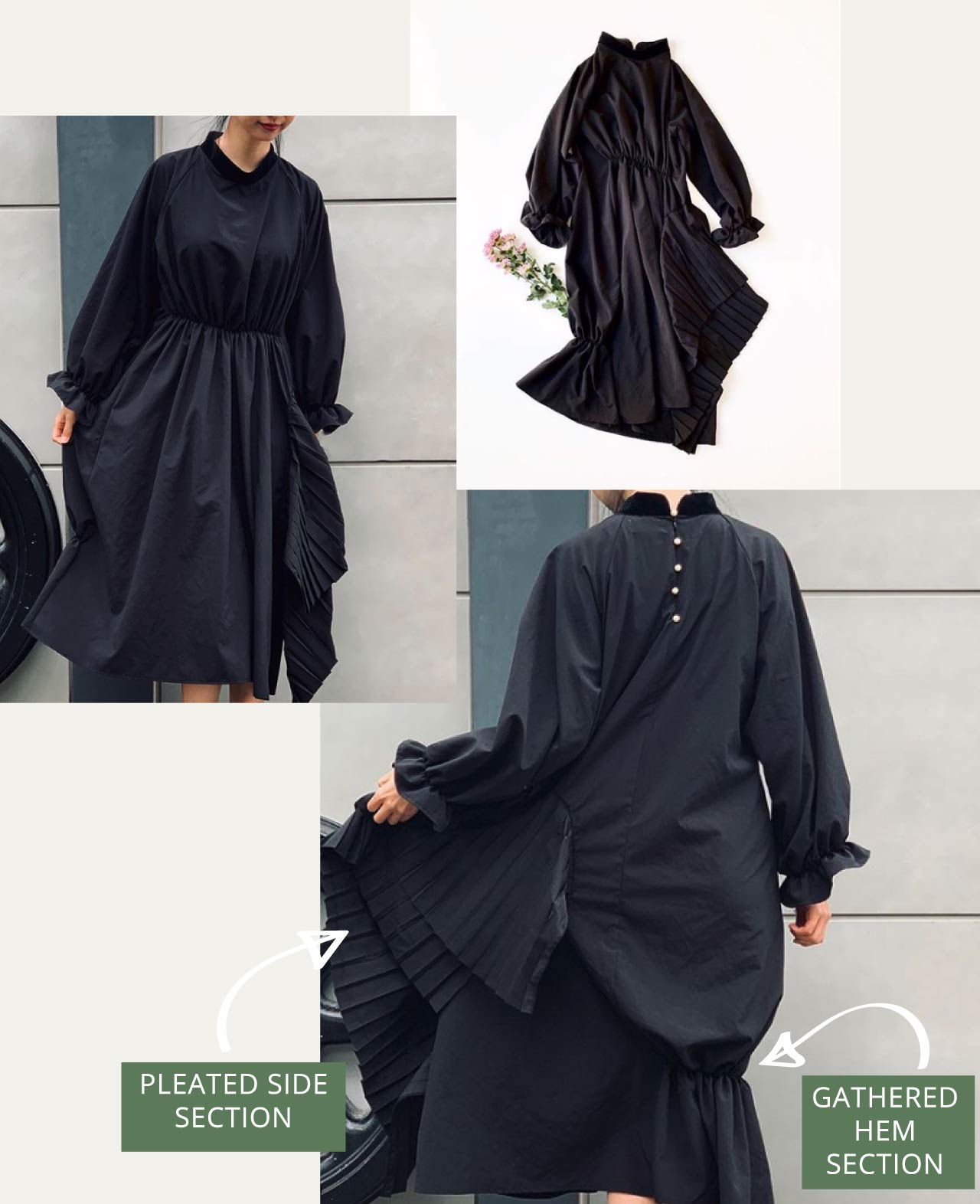 Asymmetrical black Houga dress spliced with pleats on one side and gathered at the hem. The Cutting Class.