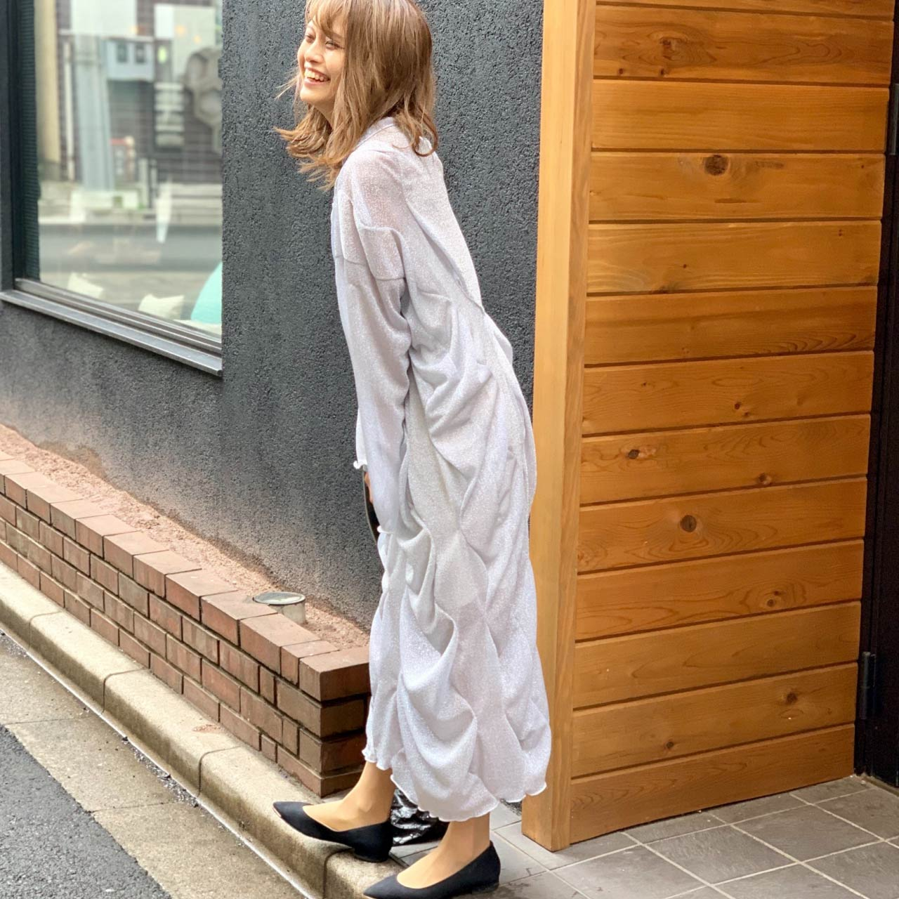 Ruched Dress by Japanese label Houga. Houga, AW19.