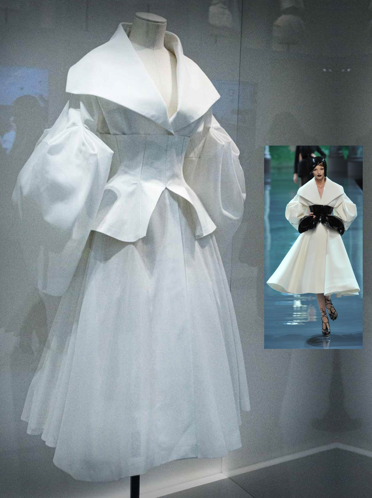 Toile of Christian Dior by John Galliano garment, Haute Couture, Autumn-Winter 2008. White dress with wide collar and cinched waist.