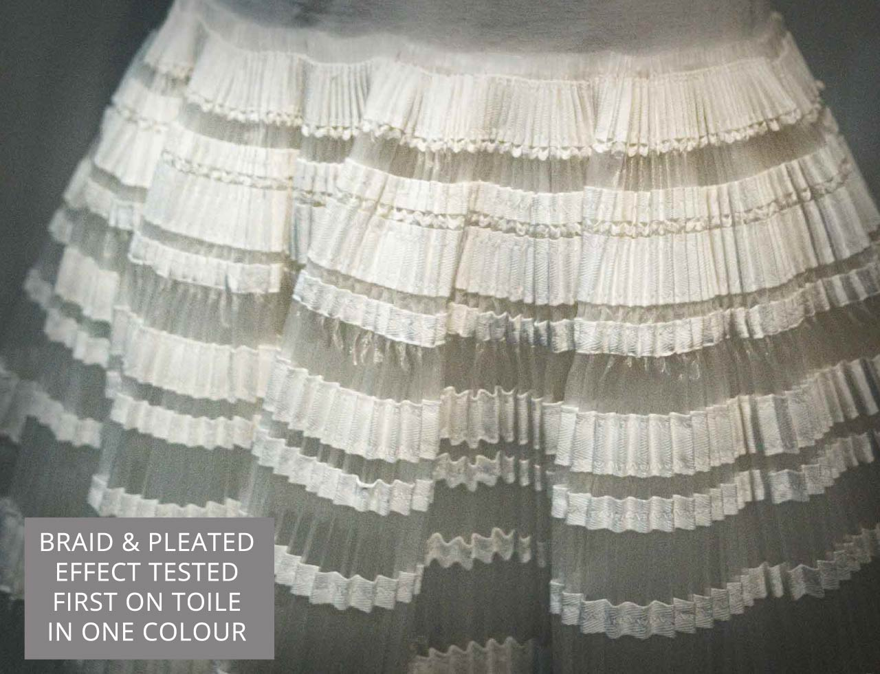 The Christian Dior Toile Room | The Cutting Class. Toile of Christian Dior by Raf Simons, Haute Couture, Spring-Summer 2015. Detail of how trim and pleating has been tested on the toile.