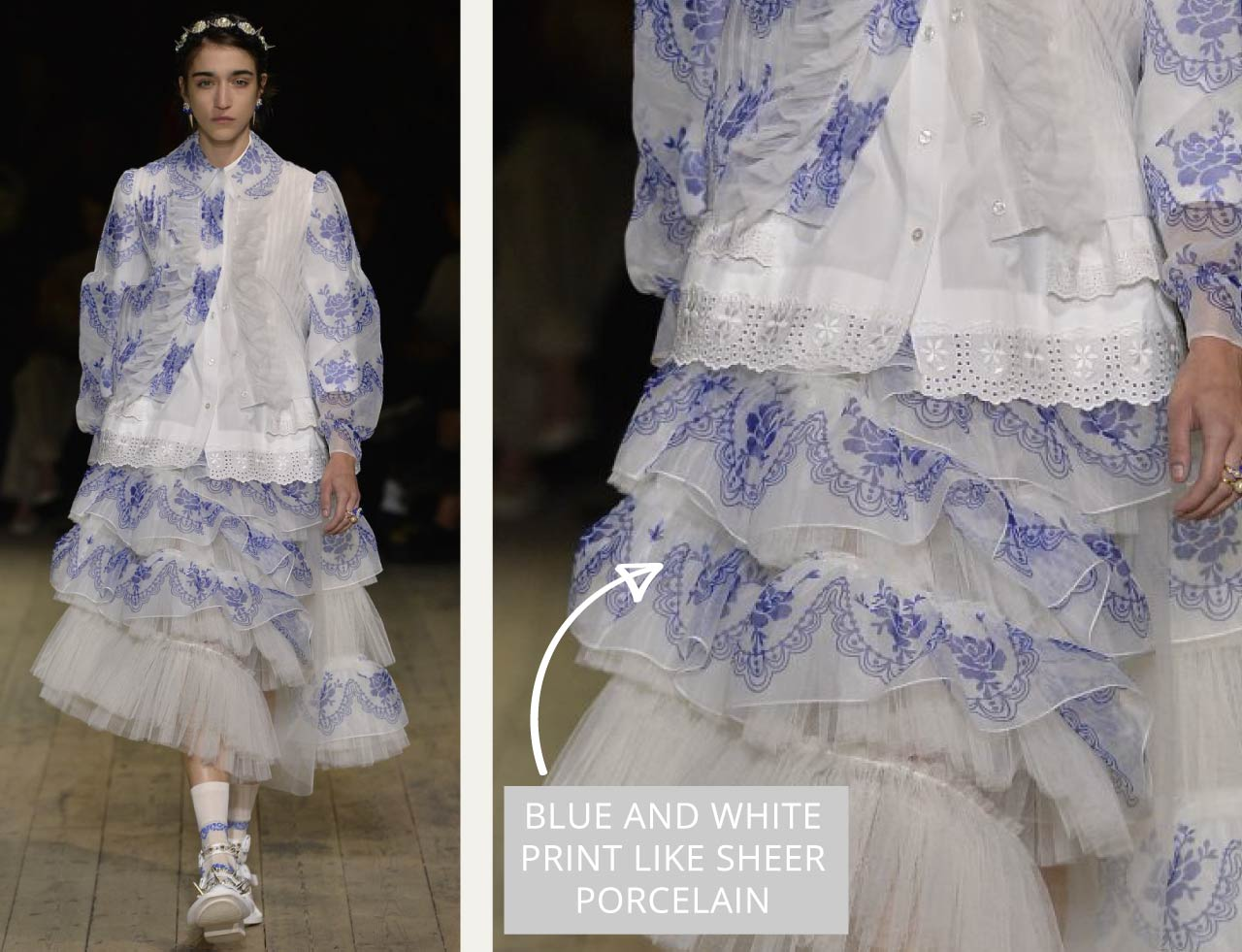 Translucent Layers at Simone Rocha | The Cutting Class. Blue printed fabric with sheer white background like delicate porcelain.