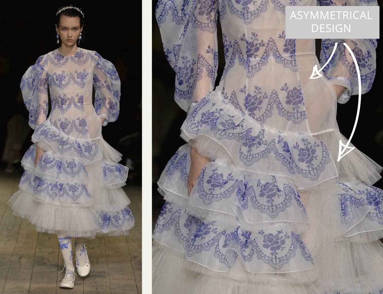 Translucent Layers at Simone Rocha | The Cutting Class. Blue and white dress with asymmetrical layered design.