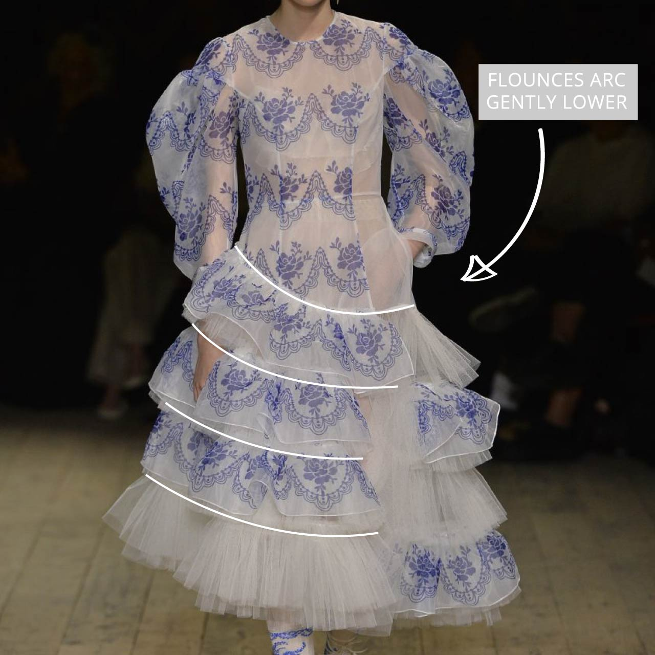 Translucent Layers at Simone Rocha | The Cutting Class. Flounces arc gently lower on dress.
