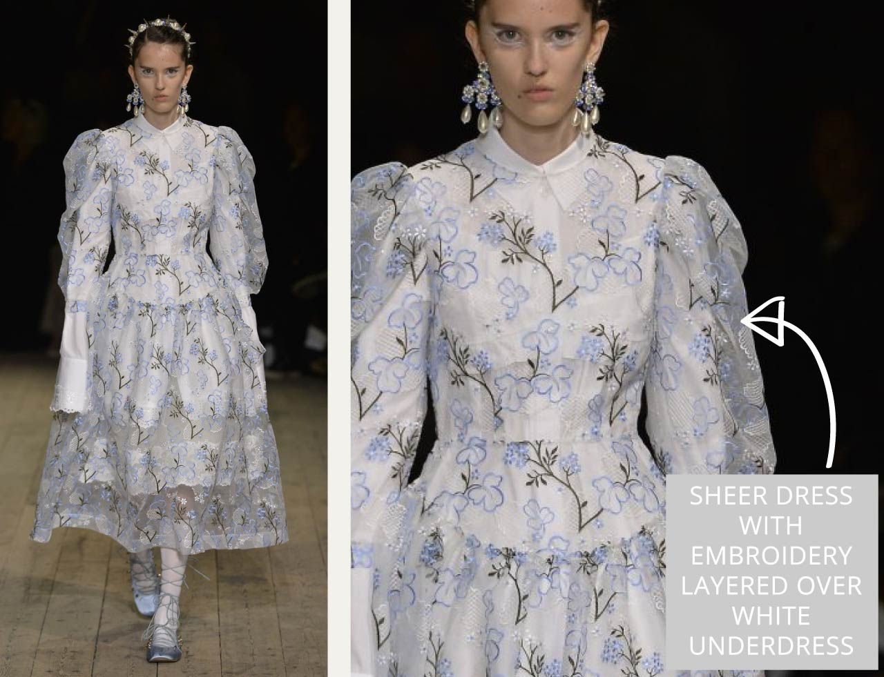 Translucent Layers at Simone Rocha | The Cutting Class. Sheer dress with embroidery layered over white underdress.