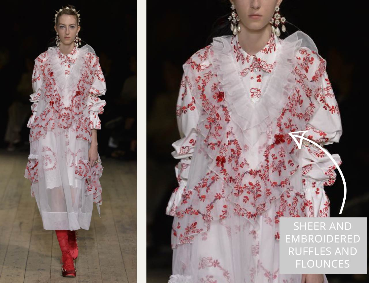 Translucent Layers at Simone Rocha | The Cutting Class. Sheer and embroidered ruffles and flounces.