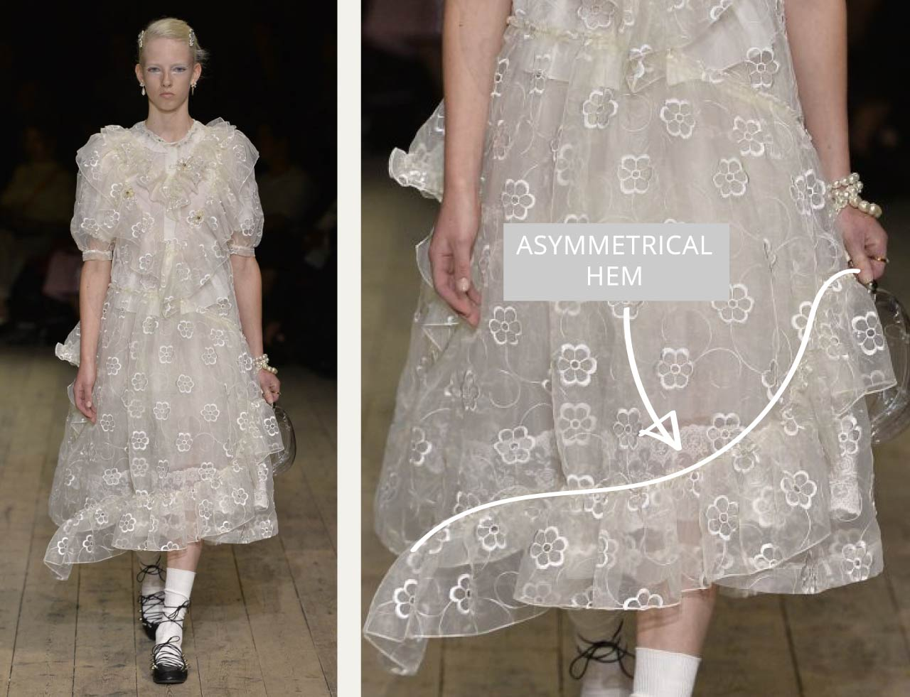 Translucent Layers at Simone Rocha | The Cutting Class. Asymmetrical hem in dress design.