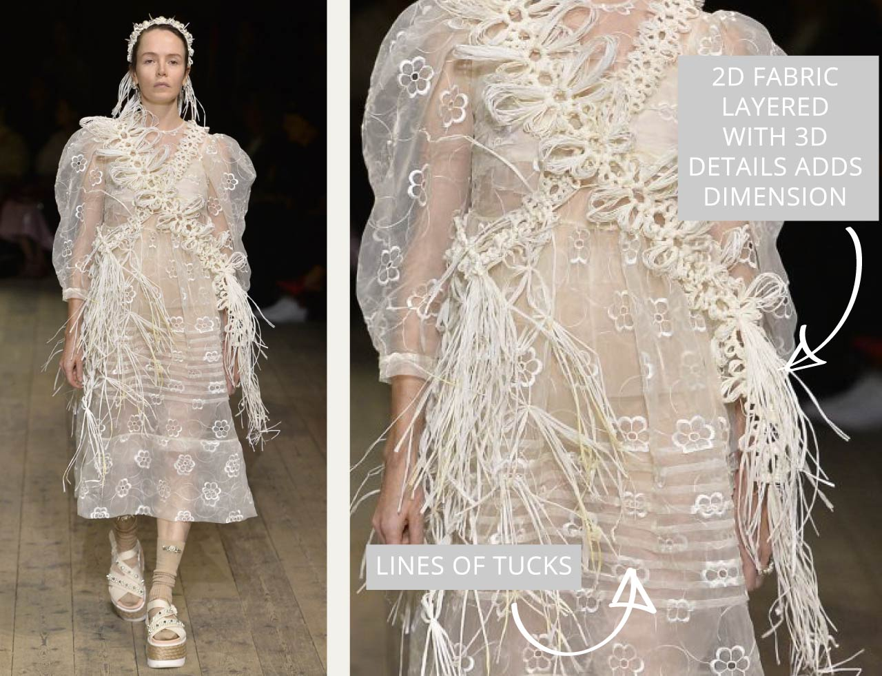 Translucent Layers at Simone Rocha | The Cutting Class. 2D fabric layered with 3D details has dimension.