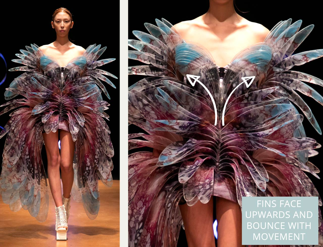 Contemporary Couture Techniques at Iris van Herpen | The Cutting Class. Lasercut PetG fin outlines face upwards to create bouncey movement. Couture SS20.