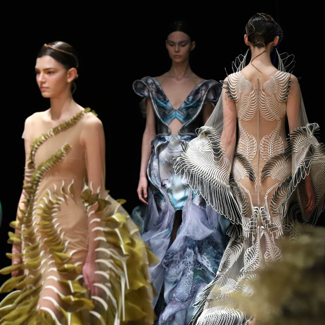 Contemporary Couture Techniques at Iris van Herpen | The Cutting Class. Models from the 'Sensory Seas' SS20 couture collection.