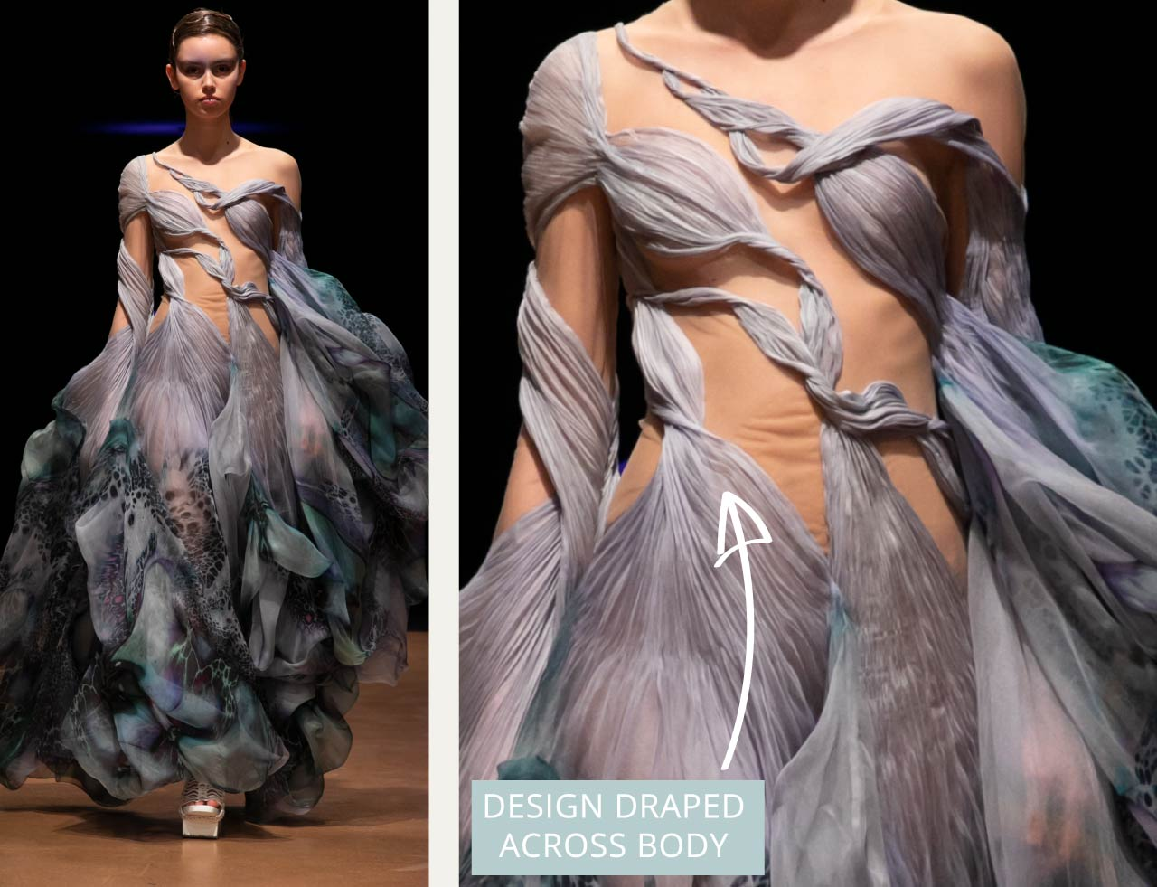 Contemporary Couture Techniques at Iris van Herpen | The Cutting Class. Draped lilac fabric from SS20 couture.