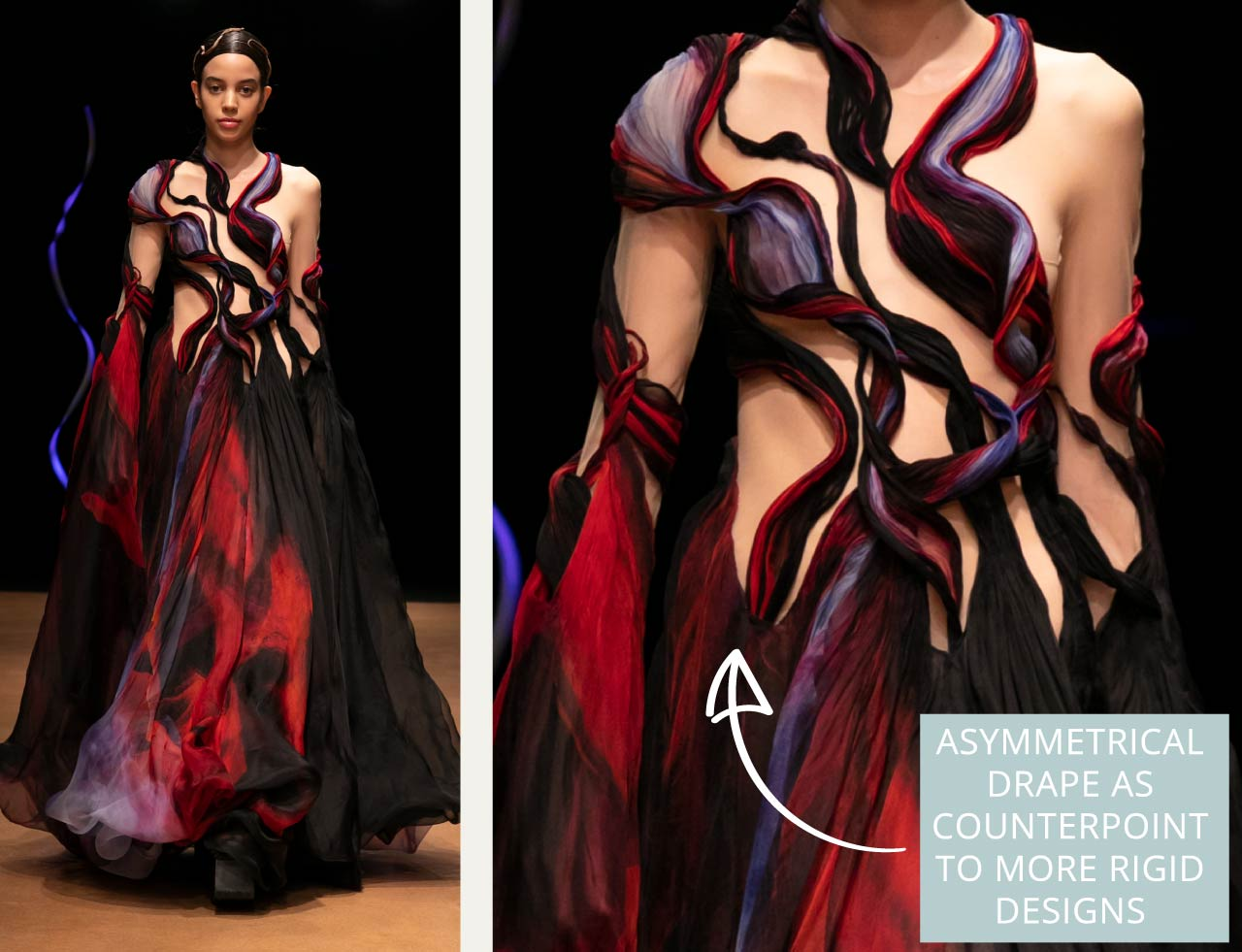 Contemporary Couture Techniques at Iris van Herpen | The Cutting Class. Asymmetrical drape used as counterpoint to more rigid designs.