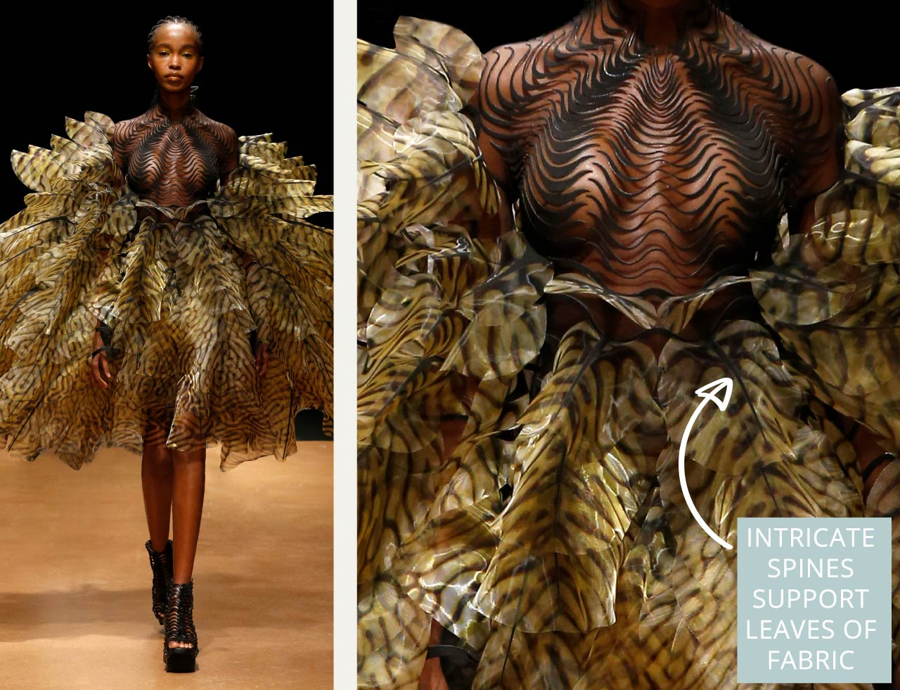 Contemporary Couture Techniques at Iris van Herpen | The Cutting Class. Intricate spines support leaves of sheer fabric.