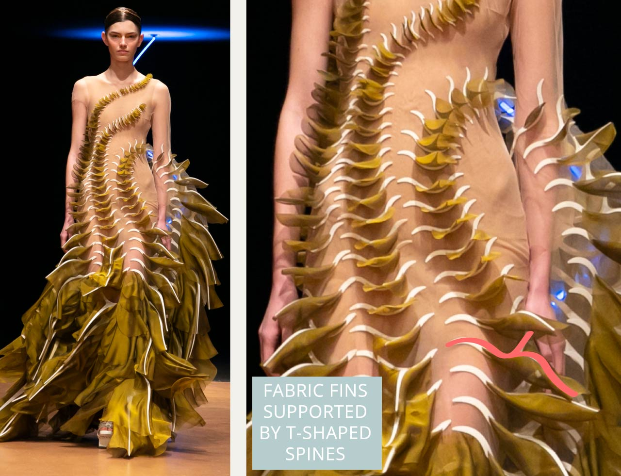 Contemporary Couture Techniques at Iris van Herpen | The Cutting Class. T-shaped spines support the fabric fins.