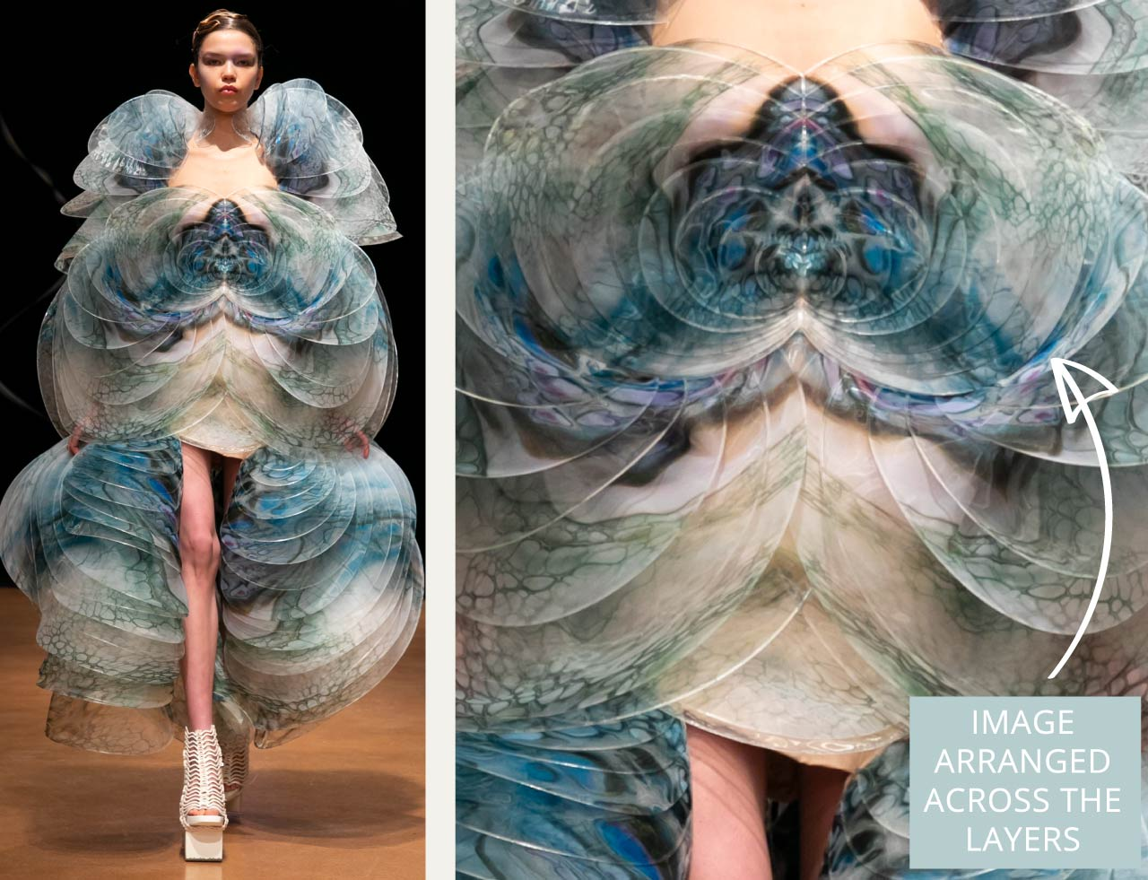Contemporary Couture Techniques at Iris van Herpen | The Cutting Class. Digitally printed fabric arranges image carefully across multiple layers.