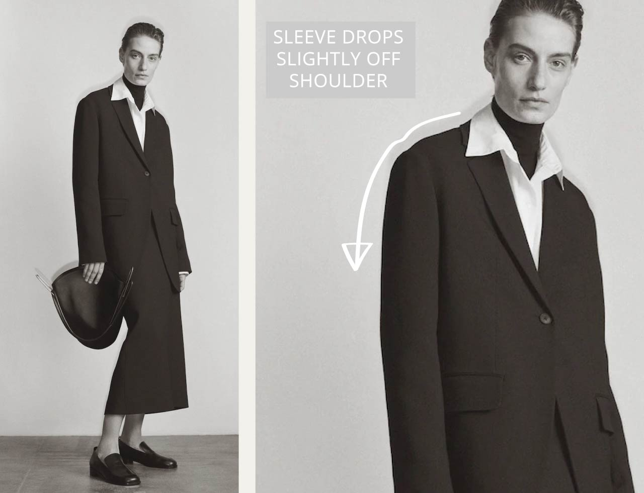 Slight Dropped Shoulders at The Row | The Cutting Class. Sleeve drops slightly off shoulder.
