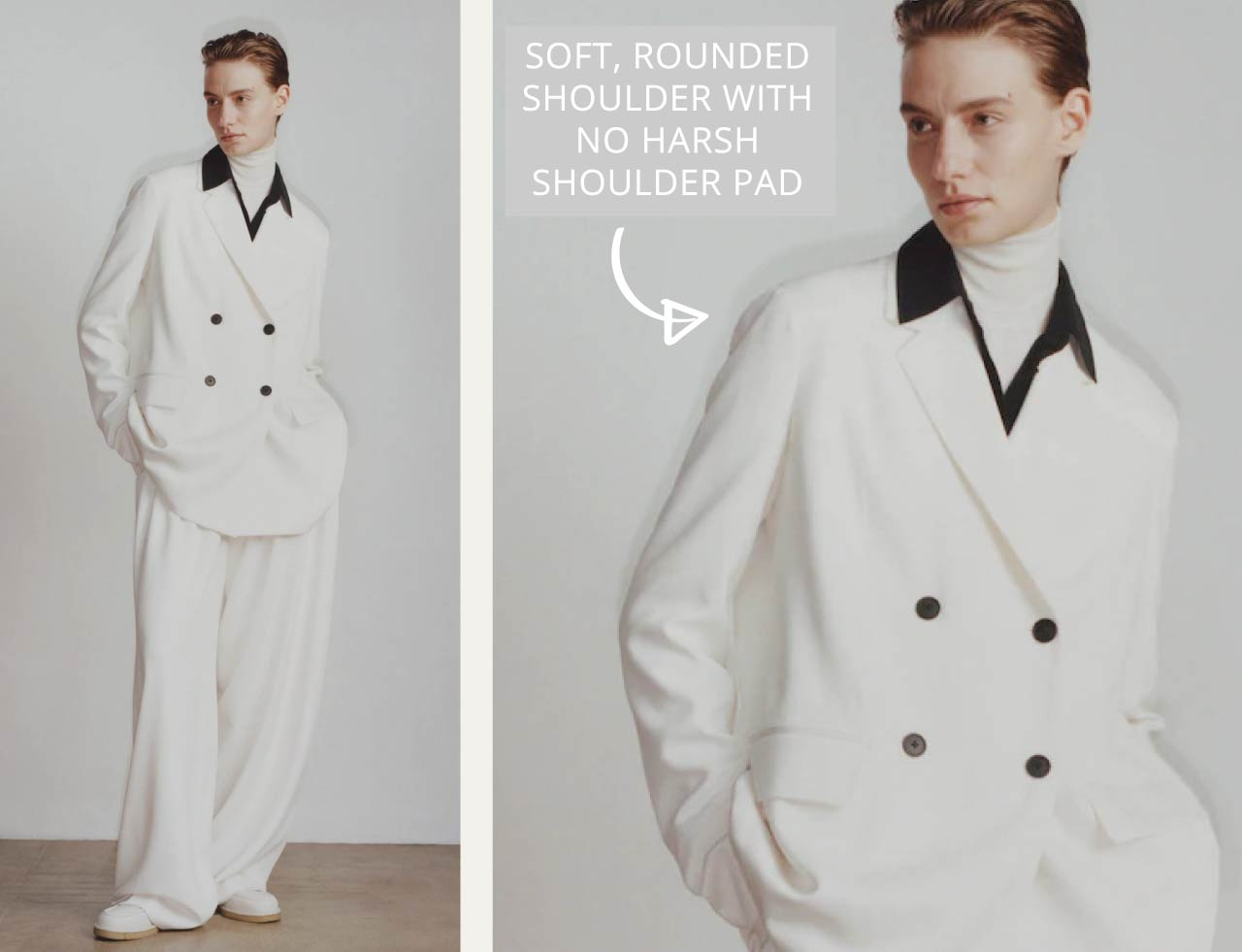 Slight Dropped Shoulders at The Row | The Cutting Class. Soft, rounded shoulder, no harsh shoulder pad.