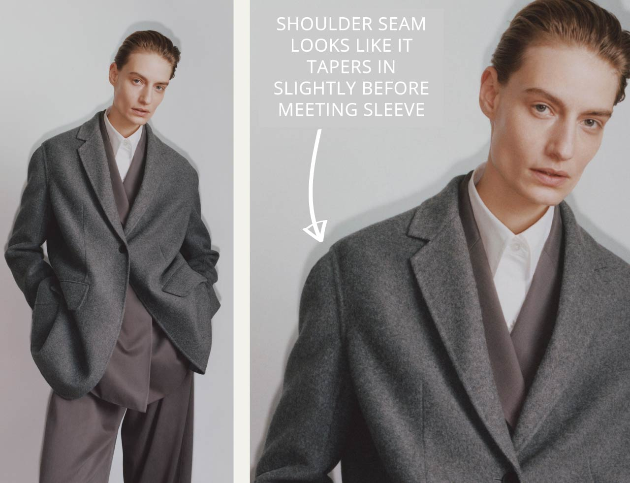Slight Dropped Shoulders at The Row | The Cutting Class. Shoulder seam appears to taper towards the sleeve.