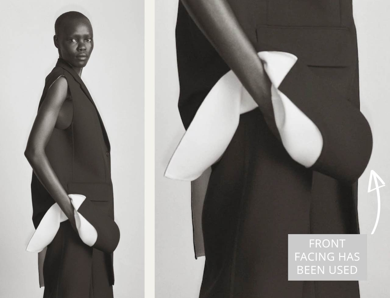 Slight Dropped Shoulders at The Row | The Cutting Class. Front facing has been used with white lining.