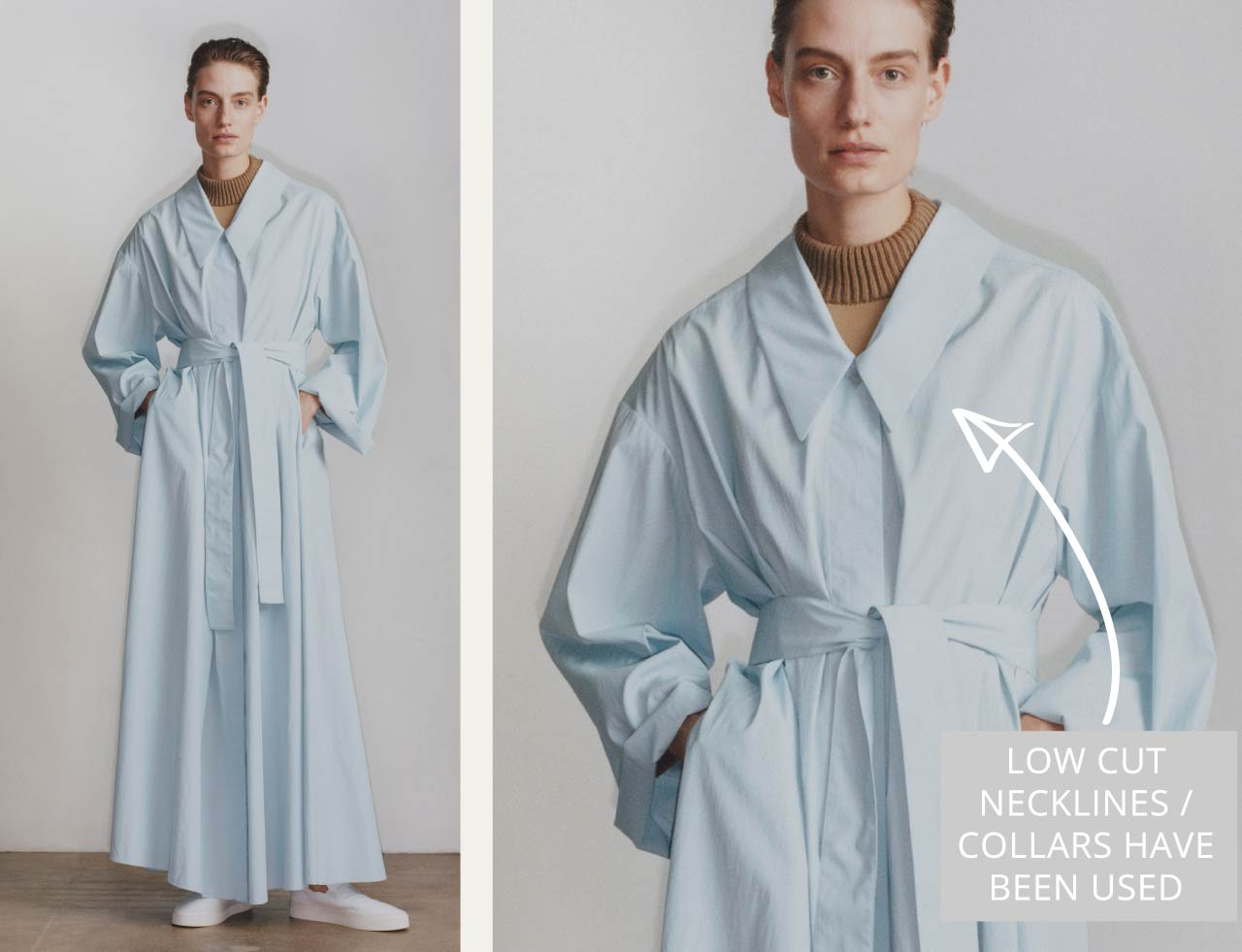 Slight Dropped Shoulders at The Row | The Cutting Class. Low cut neckline / collar on pale blue trench.