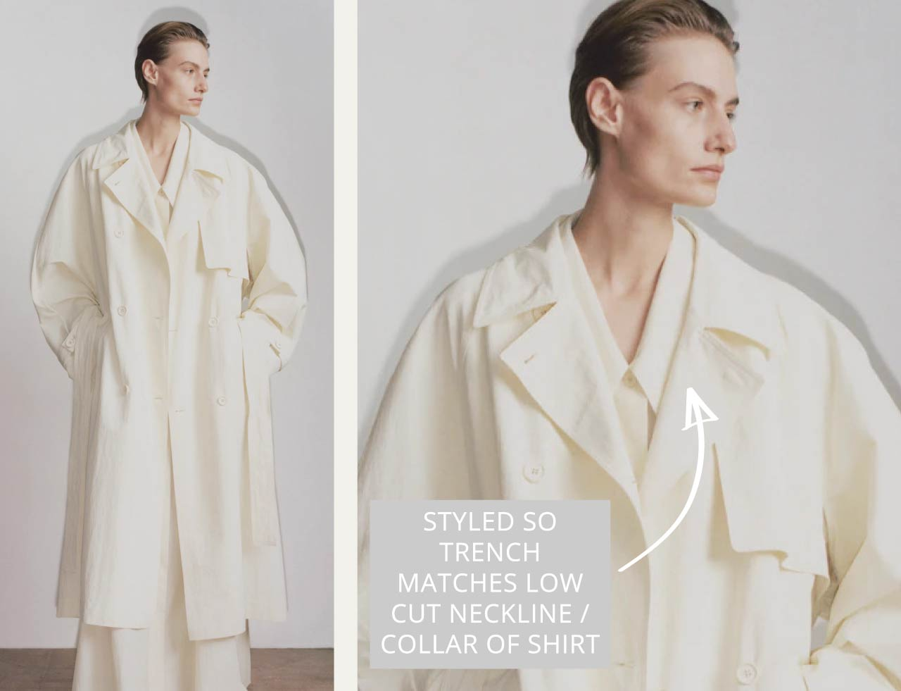 Slight Dropped Shoulders at The Row | The Cutting Class. Low cut neckline / collar on shirt and trench Pre Fall 2020.