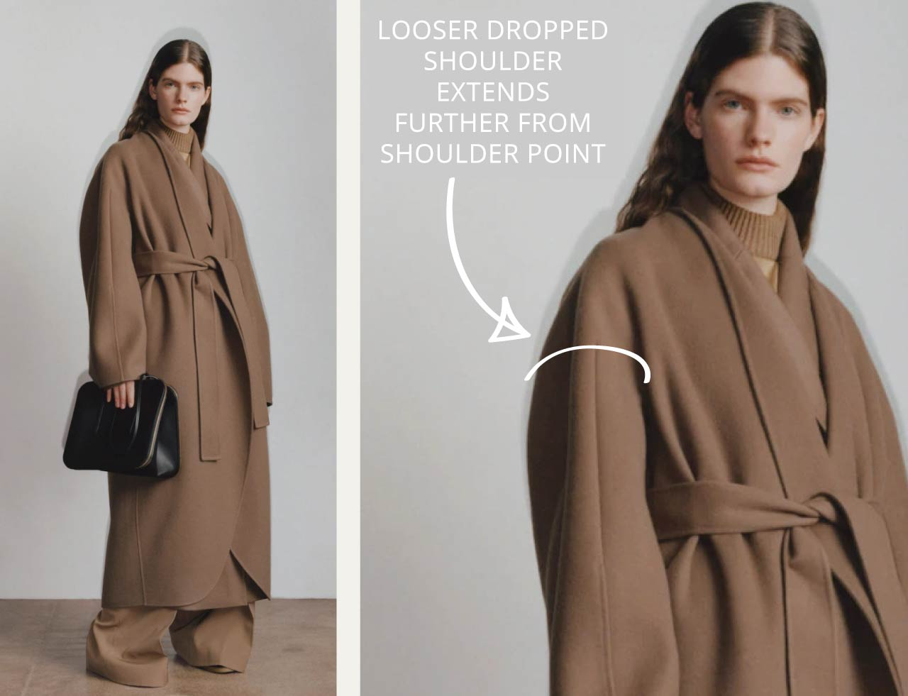 Slight Dropped Shoulders at The Row | The Cutting Class. Looser dropped shoulder styles extend further past the shoulder point.