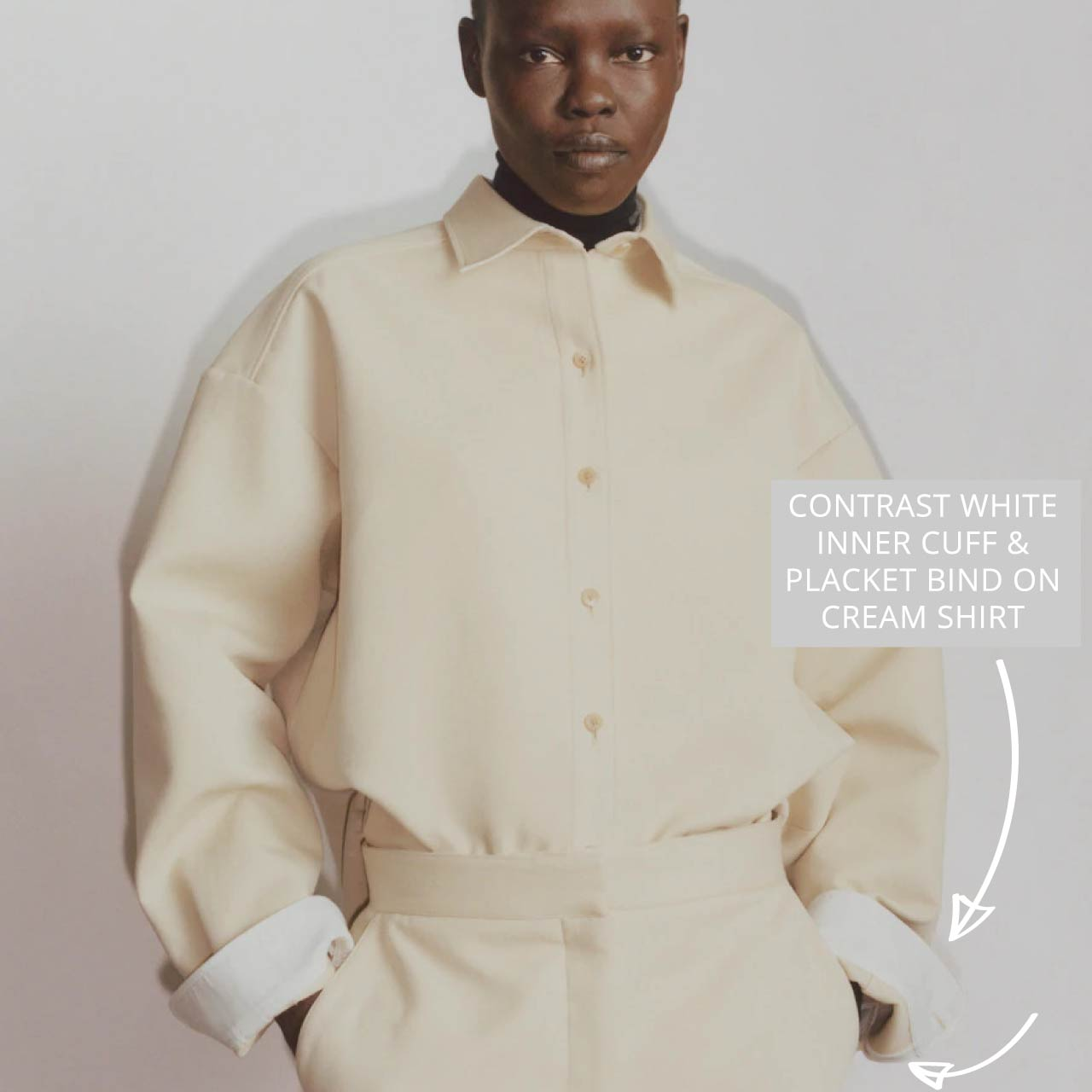 Slight Dropped Shoulders at The Row | The Cutting Class. Cream shirt with contrast white on inner cuff and placket bind, PF20.