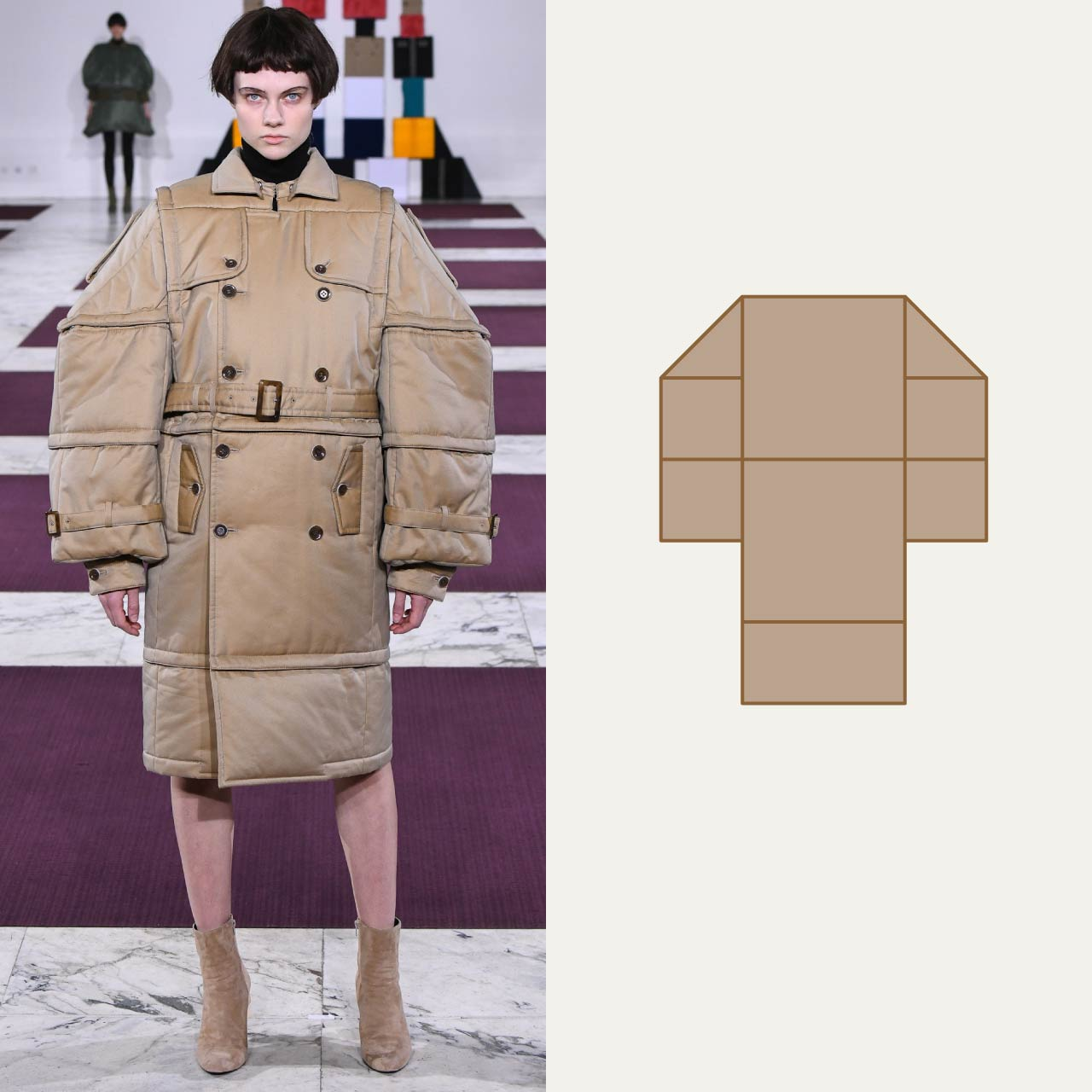 A Modular Anrealage Silhouette Through Blocks | The Cutting Class. A classic trench deconstructed into blocks.