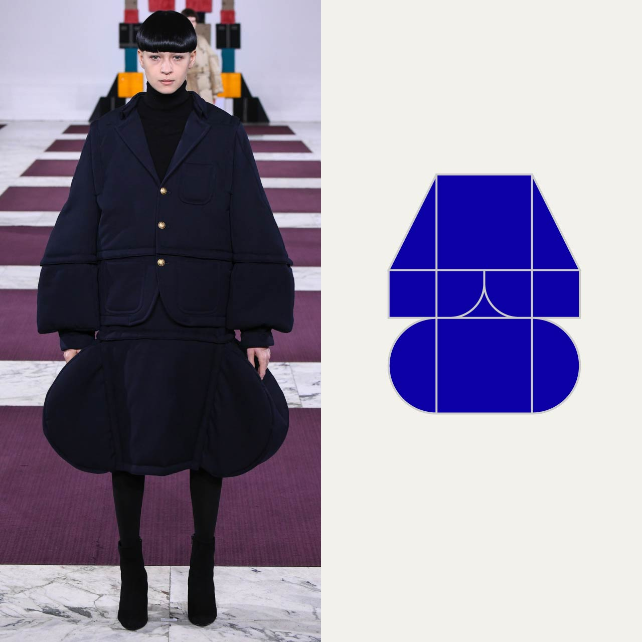 A Modular Anrealage Silhouette Through Blocks | The Cutting Class. Blocks, triangles and semi-circles form the shapes of a jacket and skirt.