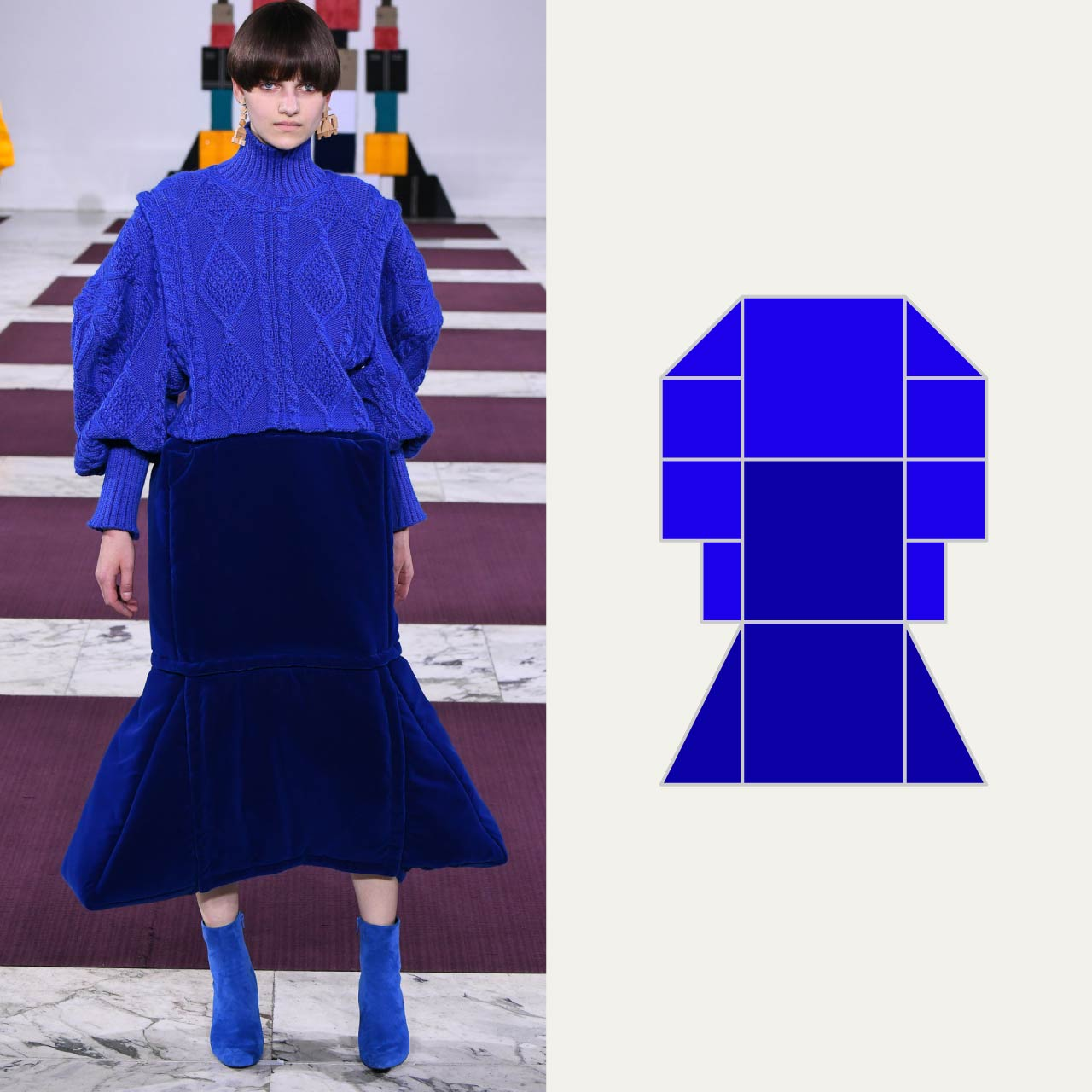 A Modular Anrealage Silhouette Through Blocks | The Cutting Class. The blocky forms relax in a knitwear construction.