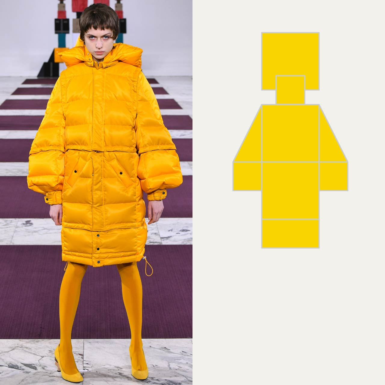 A Modular Anrealage Silhouette Through Blocks | The Cutting Class. Yellow Puffer Jacket, AW20.