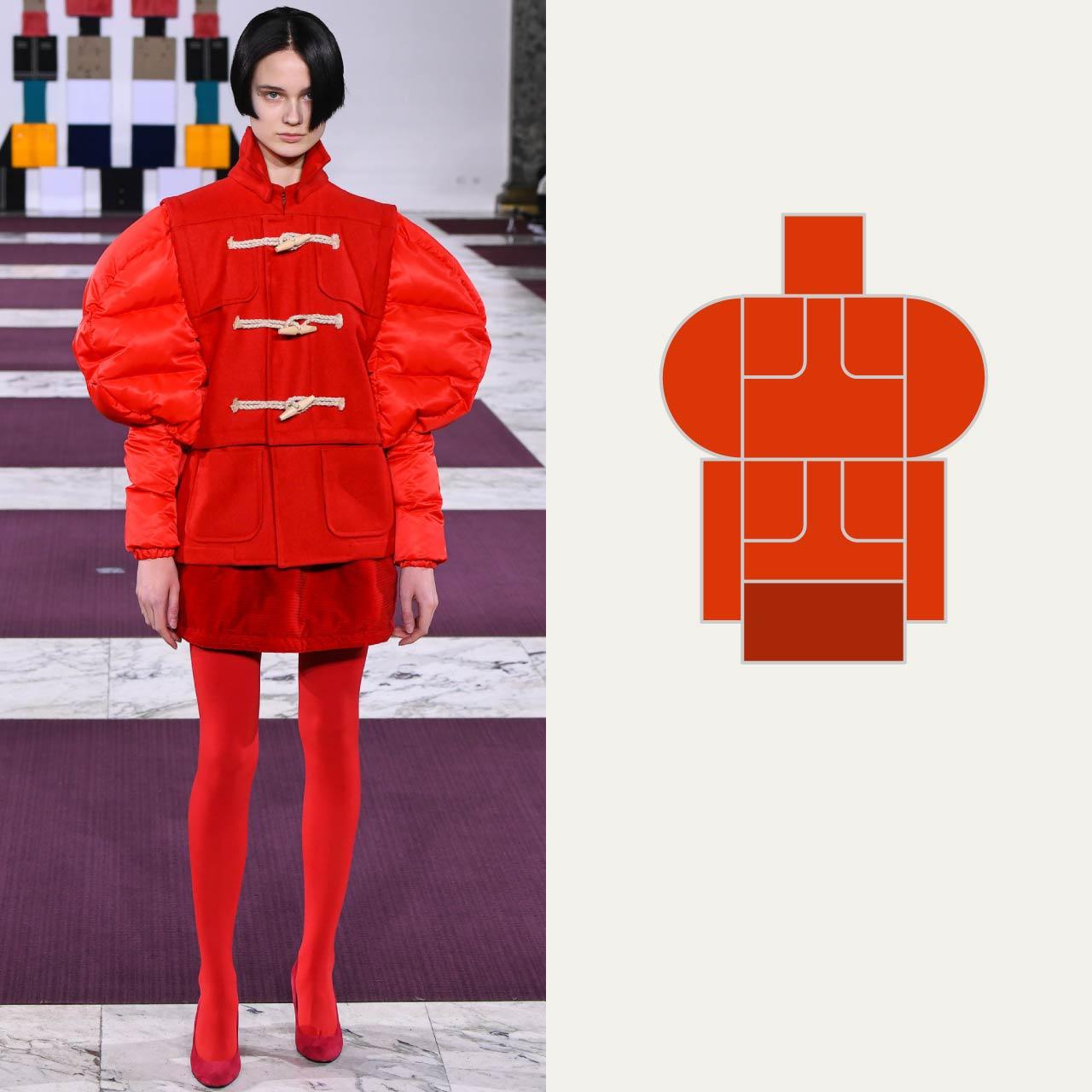 A Modular Anrealage Silhouette Through Blocks | The Cutting Class. Shades of red create hybrid garment, AW20.